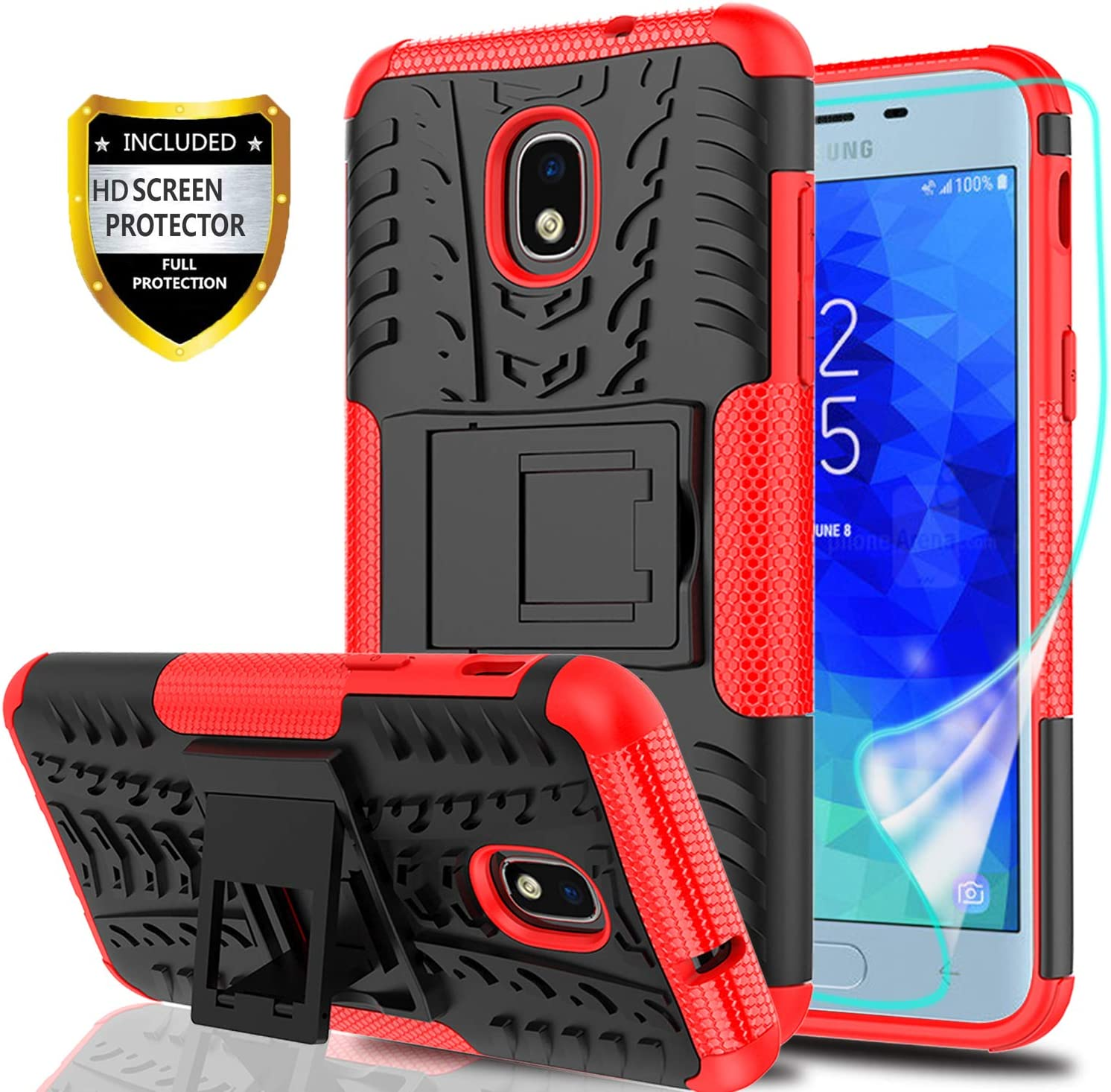 YmhxcY Galaxy J3 2018 Case,J3 Achieve//J3 Star//Express Prime 3//Amp Prime 3//J3 V 3rd Gen Case with HD Screen Protector,Military Armor Drop Tested Hybrid Case with Kickstand for Samsung J3 2018-LT Black