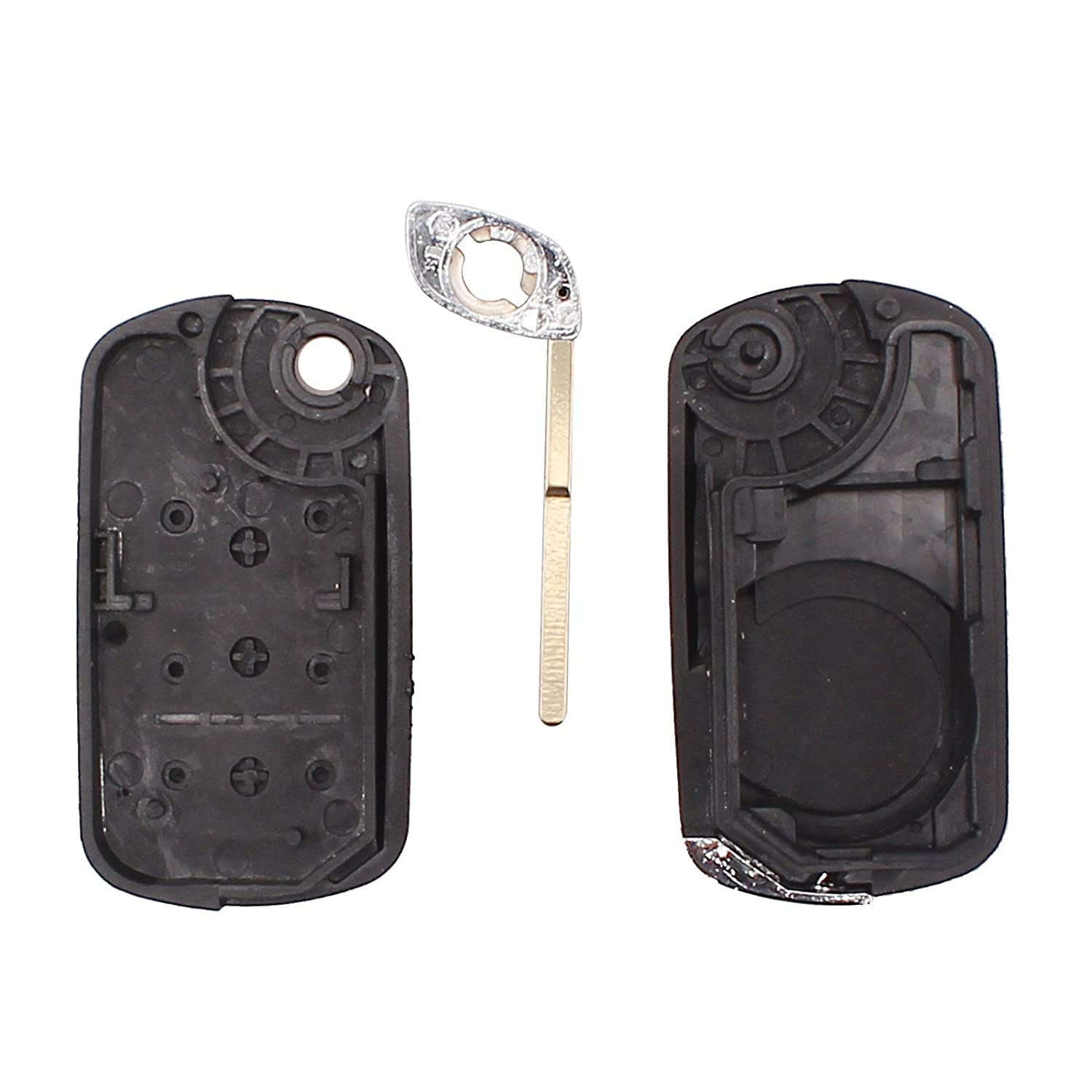 KEMANI Uncut Blade Flip Remote Key Fob Shell Case Replacement For Land Rover Discovery LR3 Range Rover Sport 3Button No Chips Inside