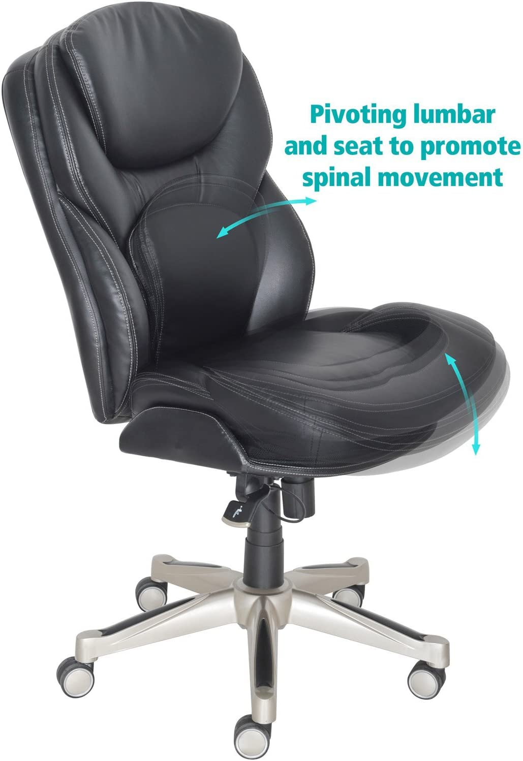 Serta Ergonomic Executive Office Motion Technology, Adjustable Mid Back  Desk Chair with Lumbar Support, Black Bonded Leather
