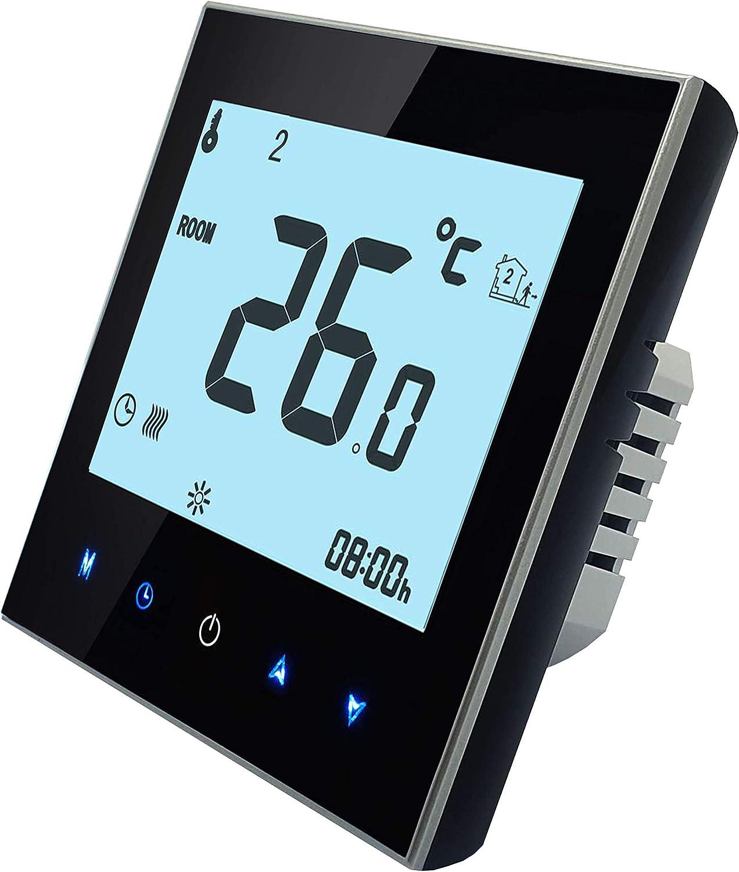 BECA 1000 Series 3/16A Pantalla táctil LCD Agua/Calefacción eléctrica/Caldera Termostato de control de programación inteligente con conexión WIFI (Calefacción eléctrica,Negro)