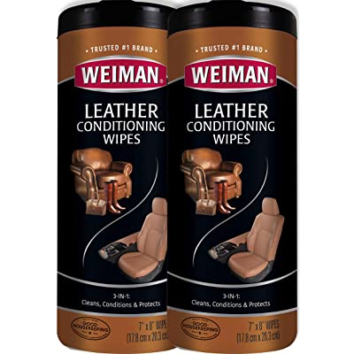 Weiman Leather Wipes - 2 Pack - Clean Condition UV Protection Help Prevent Cracking or Fading of Leather Furniture, Car Seats & Interior, Shoes and More: Health & Personal Care
