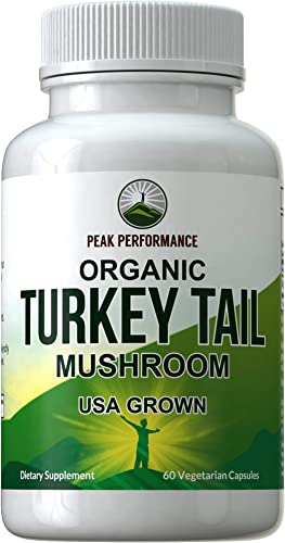 Organic Turkey Tail Mushroom Supplement USA Grown by Peak Performance. Immune System Support. Naturally Harvested Mushrooms Extract Vegan Capsules. Antioxidant Beta Glucan Rich Supplements 60 Pills