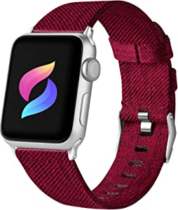 Haveda Fabric Compatible for Apple Watch Band 44mm Series 6 Series 5/4, Soft Woven Canvas for Apple watch SE, iwatch bands 42mm womens, Sport cloth for Apple Watch band 42mm Series 3 2/1(Wine Red)