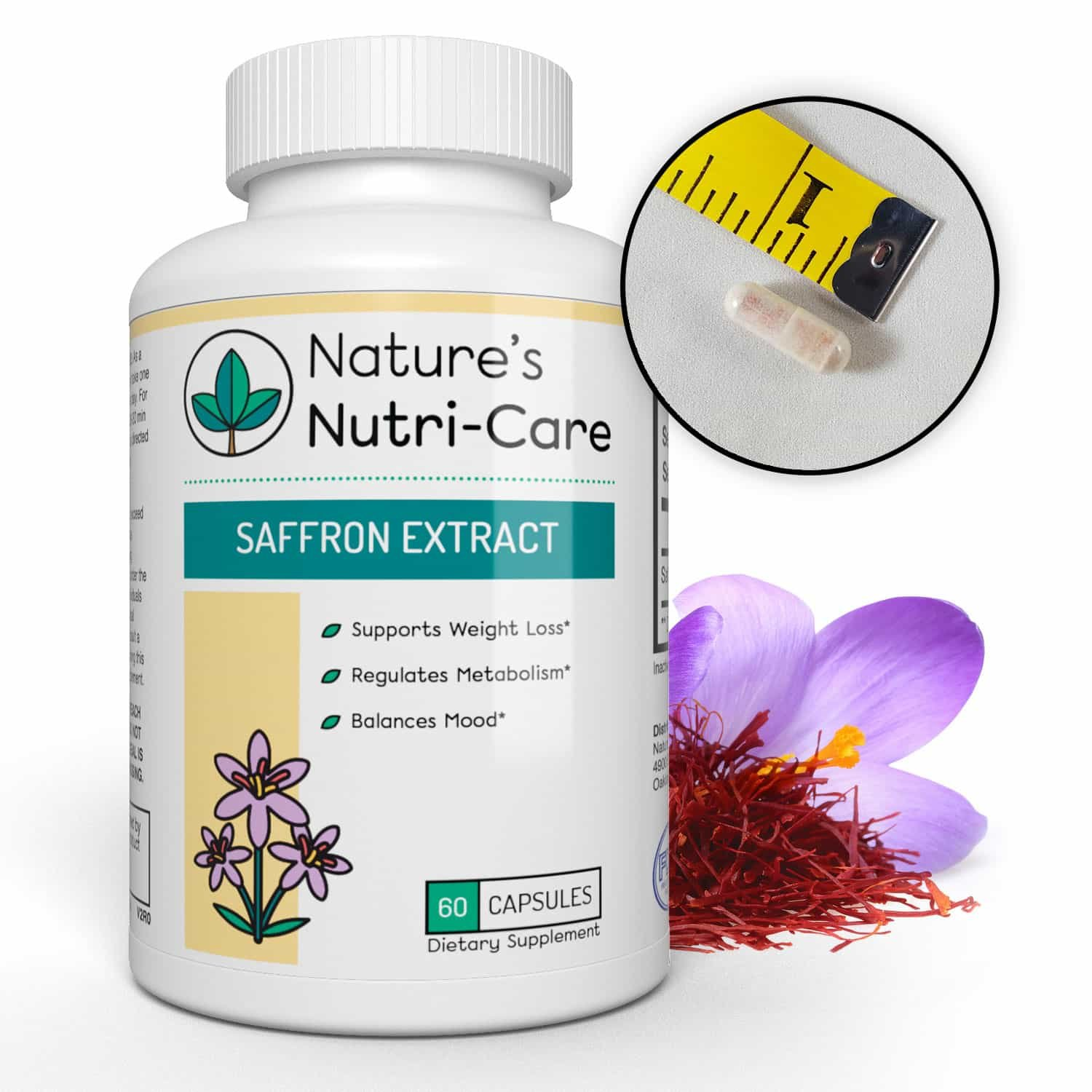 Nature's Nutri-Care Pure Saffron Extract - 88.5 mg - 60 or 180 Capsules - Appetite Suppressant and Metabolism Booster Weight Loss Supplement - Made in USA, 180