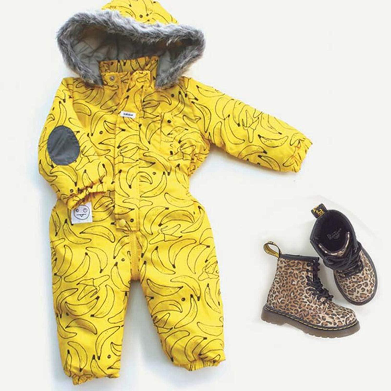 Bebek Parkas Banana Coat Conjoined Upset Ski Clothes Warm Jumpsuits Male/&Female Children Thick Padded Jacket D