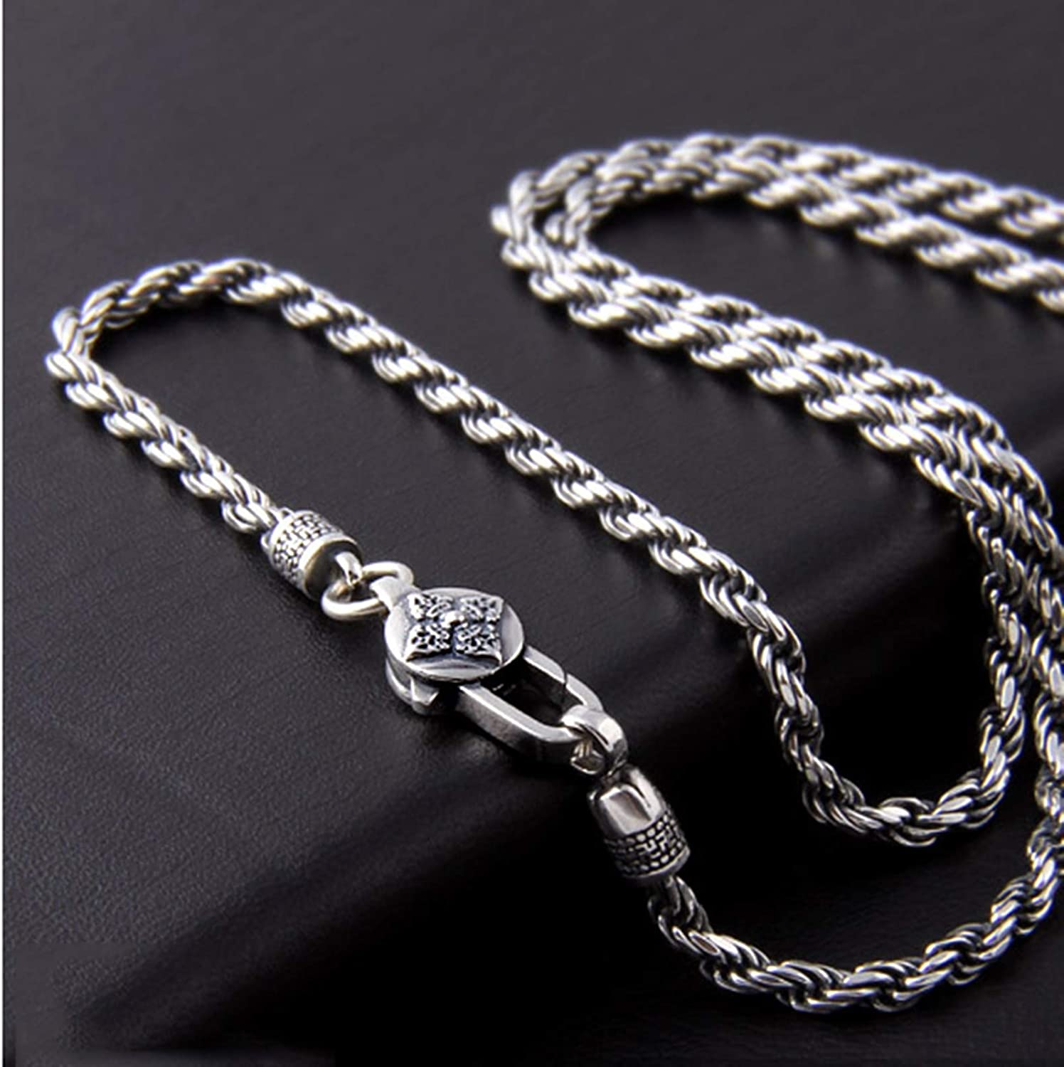 AMDXD Jewelry Sterling Silver Pendants for Men Rope Necklace Chain 3.2mm Vintage Necklaces for Men