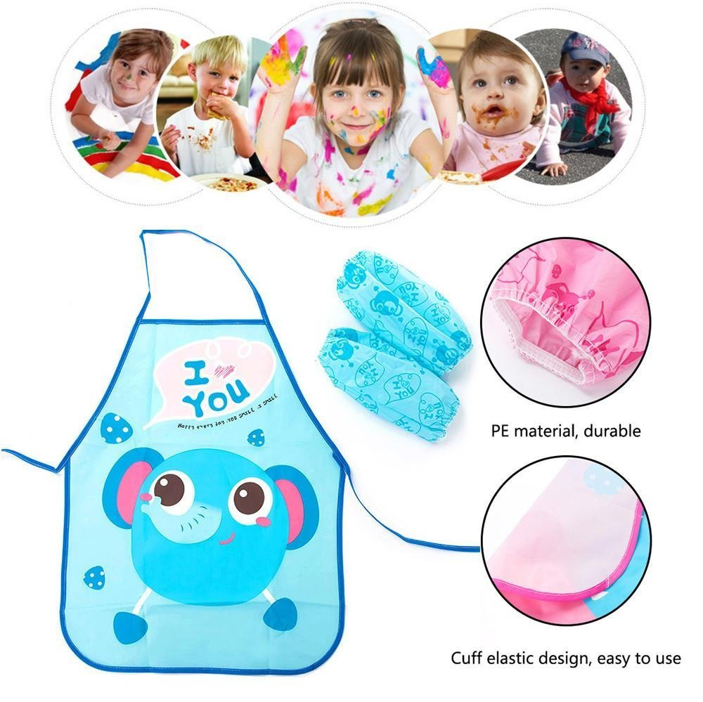 Toddler Finger Paint Apron, Aolvo Preschool Teacher Apron Cute Cartoon Apron Patterns Painting Smock Kids Painting Bibs Waterproof Aprons Play Kitchen Apron Set with Sleeves for Kids