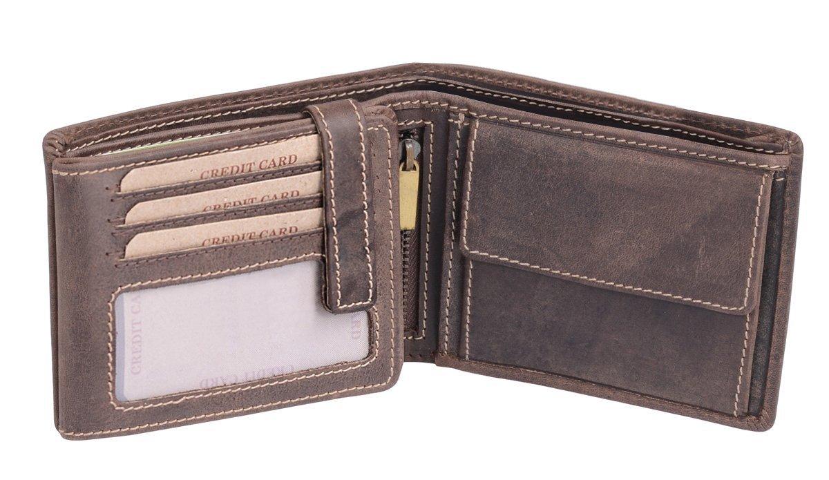 Cartera para señores Monedero para señoras Vintage Style LEAS Piel auténtica marrón