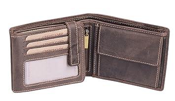Cartera para señores Monedero para señoras Vintage Style LEAS, Piel auténtica, marrón - LEAS Vintage-Collection