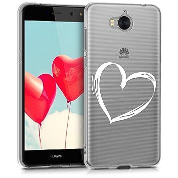 kwmobile Funda para Huawei Y6 (2017) - Carcasa de [TPU] para móvil y diseño Dibujo de corazón en [Blanco/Transparente]