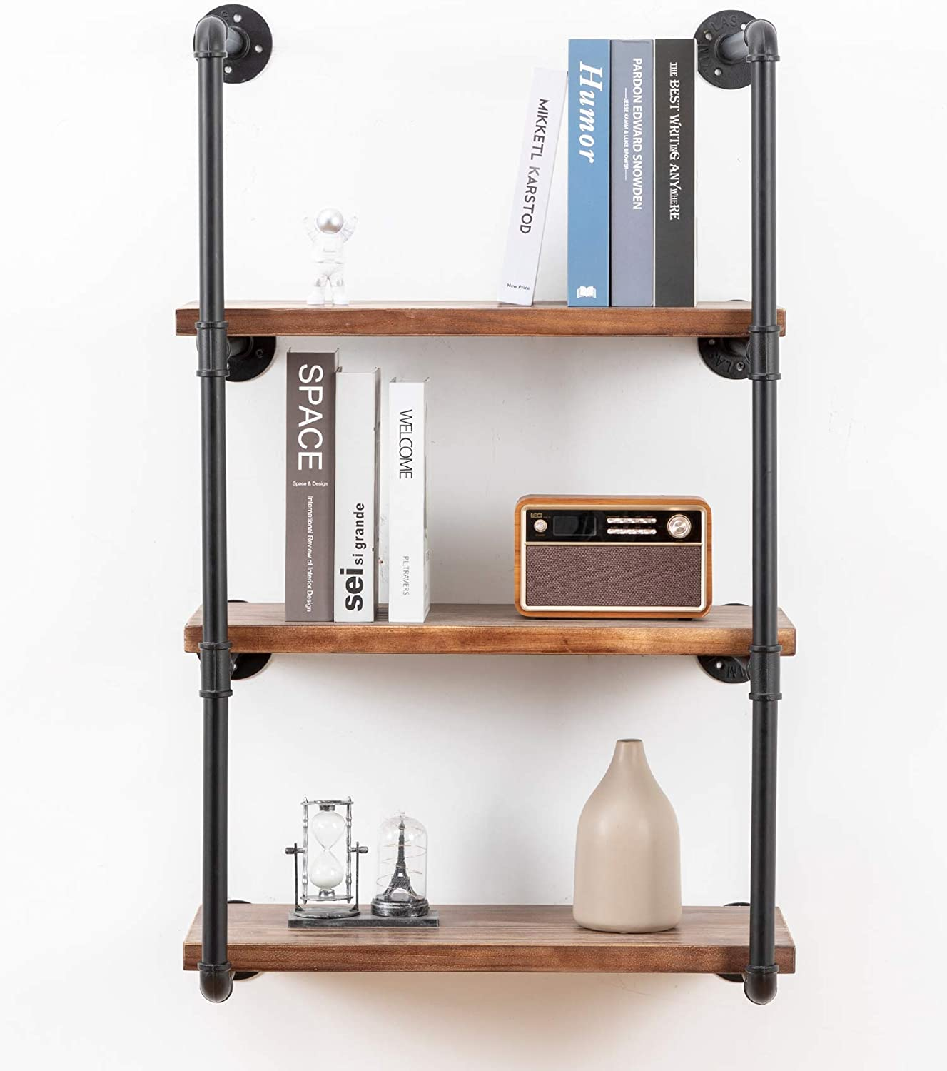 Industrial Wall Mounted Pipe Shelving,Rustic Metal Floating Shelves,Steampunk Real Wood Bookcases,DIY Bookshelf Hanging Shelves,Farmhouse Kitchen Bar Office Home Storage (4-Tier with 3 Boards,24in)
