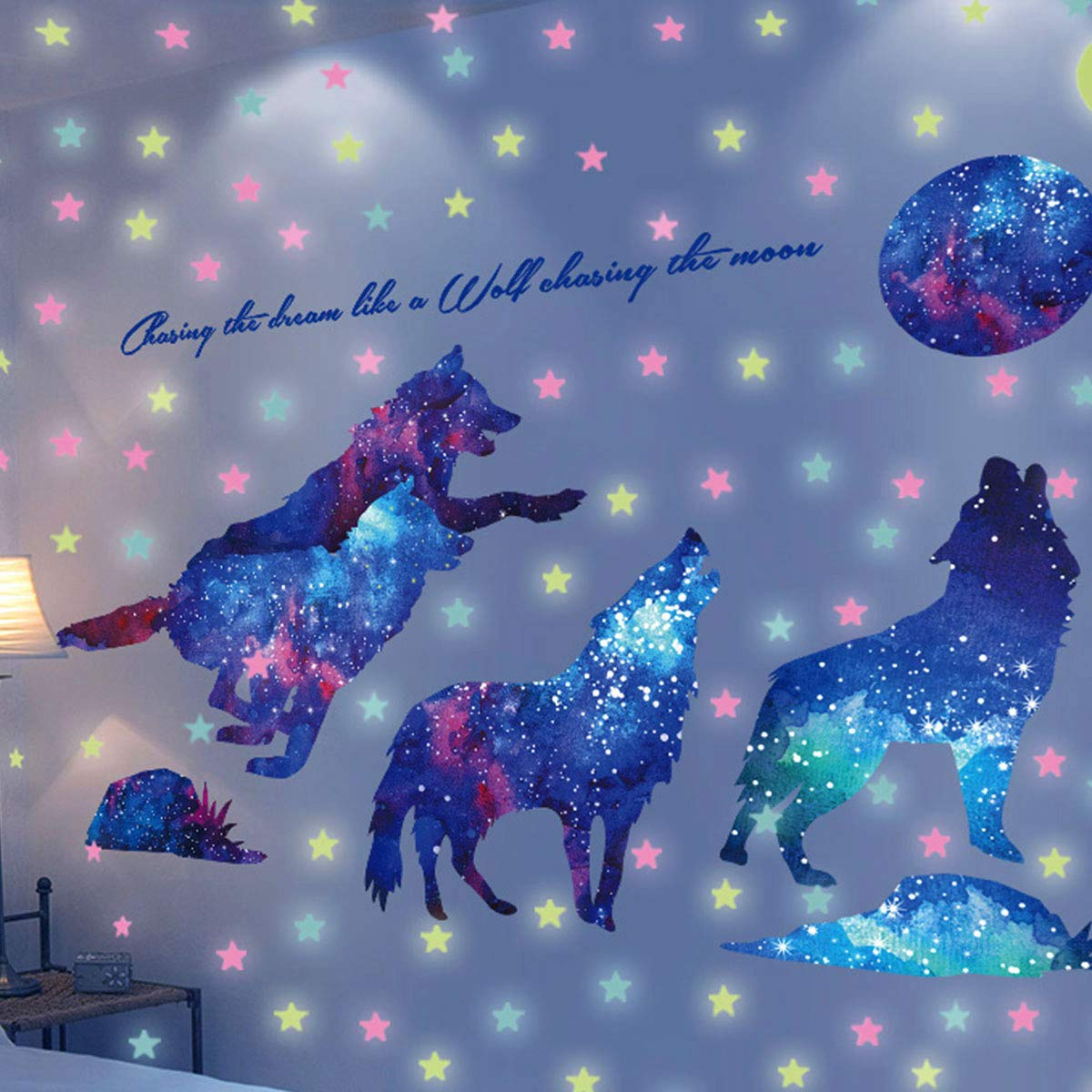 HO BEAR Starry Sky Galaxy Wolf Room Decor Wall Decal and Glow Moon Star Stickers Teen Bedroom Wall Decor Murals