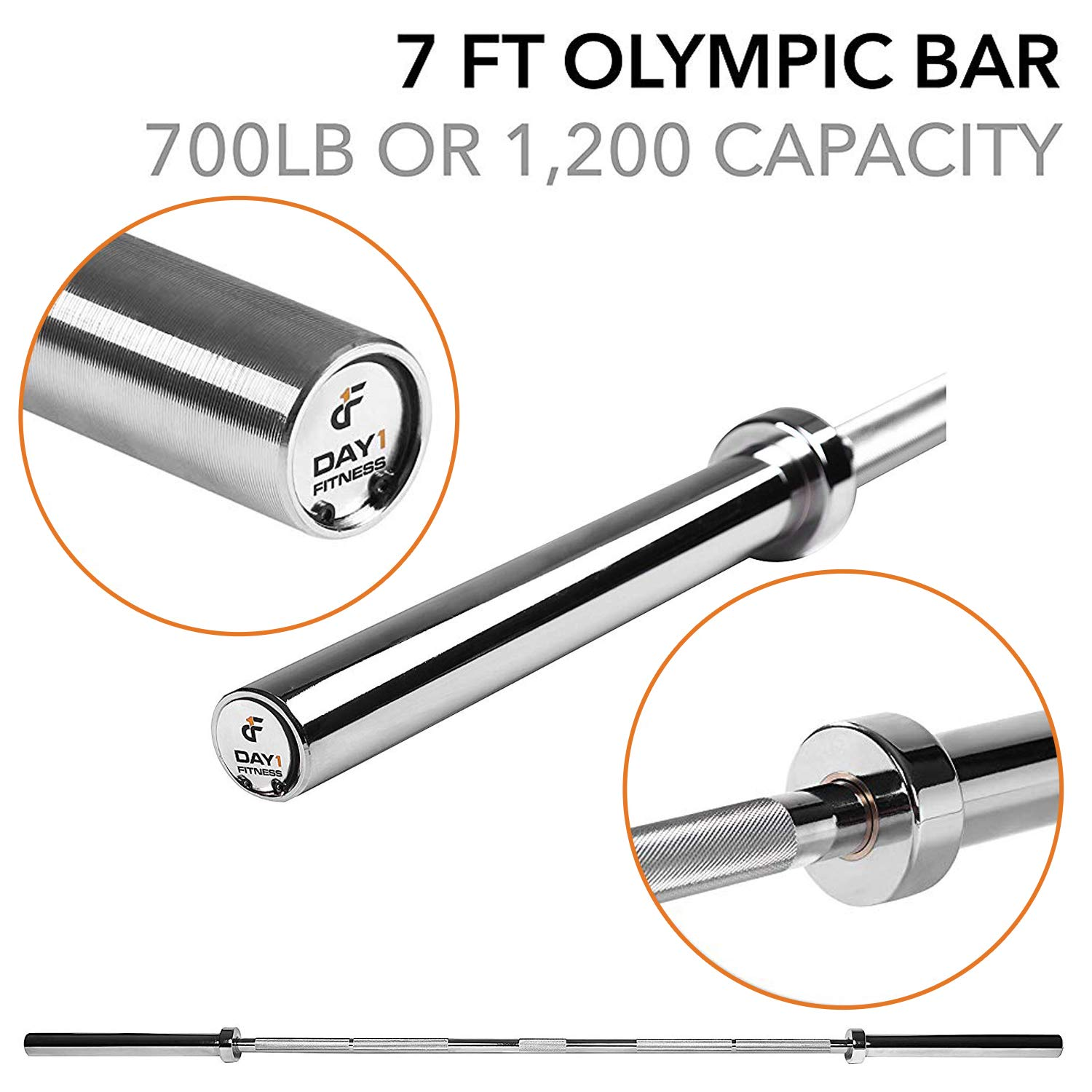 """Olympic Barbell – 2"""", 700 Pound Capacity, 7' by D1F for Weightlifting, Bench Pressing, Bodybuilding, Powerlifting - Durable Crossfit Bar - Heavy-Duty Steel Bars and Barbells, Accommodates 2"""" Plates"""