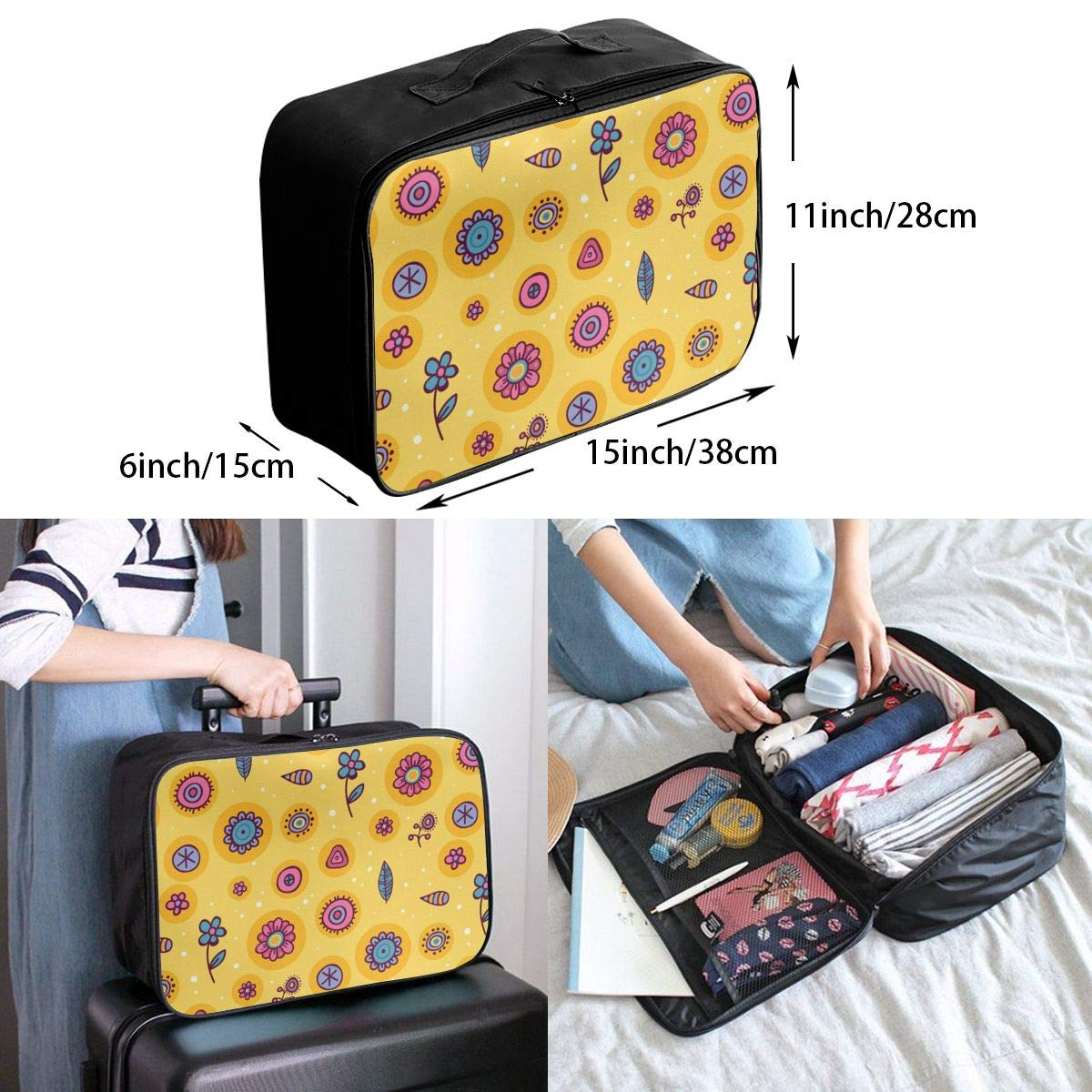 Fun Leaves And Flowers Travel Lightweight Storage Carry Luggage Duffle Tote Bag
