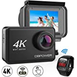 """DBPOWER D5 Native 4K EIS Action Camera 2"""" LCD Touchscreen 14MP WiFi Waterproof Sports Camera with 4K 30fps Video and 170° Wide-Angle Lens 2.4GHz Remote Control 2 Pcs Rechargeable Batteries"""