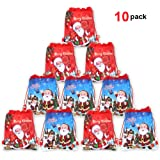 Christmas Drawstring Backpack Bags(10pack), Konsait Xmas Santa Sack Backpack for Kids Party Bag Filler Wrapper and Candy Gift Treat Goody Christmas Birthday Party Favor Supplies Decoration