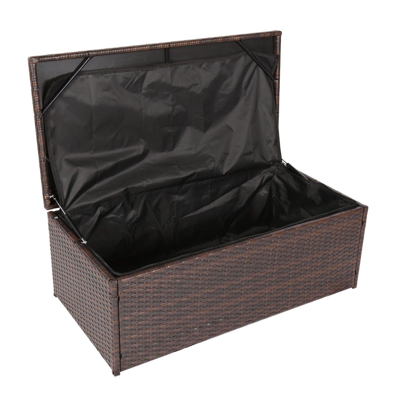 Kinbor Outdoor Wicker Storage Bins Patio Rattan Deck Box Garden Porch Furniture Set, Brown GuangBo