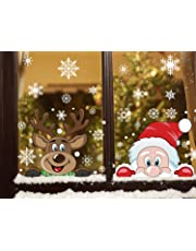 FINGOOO 76 pieces Peeping Santa and Rudolph- Christmas Window Cling Snowflake Decal Window Decoration, 6 Sheet