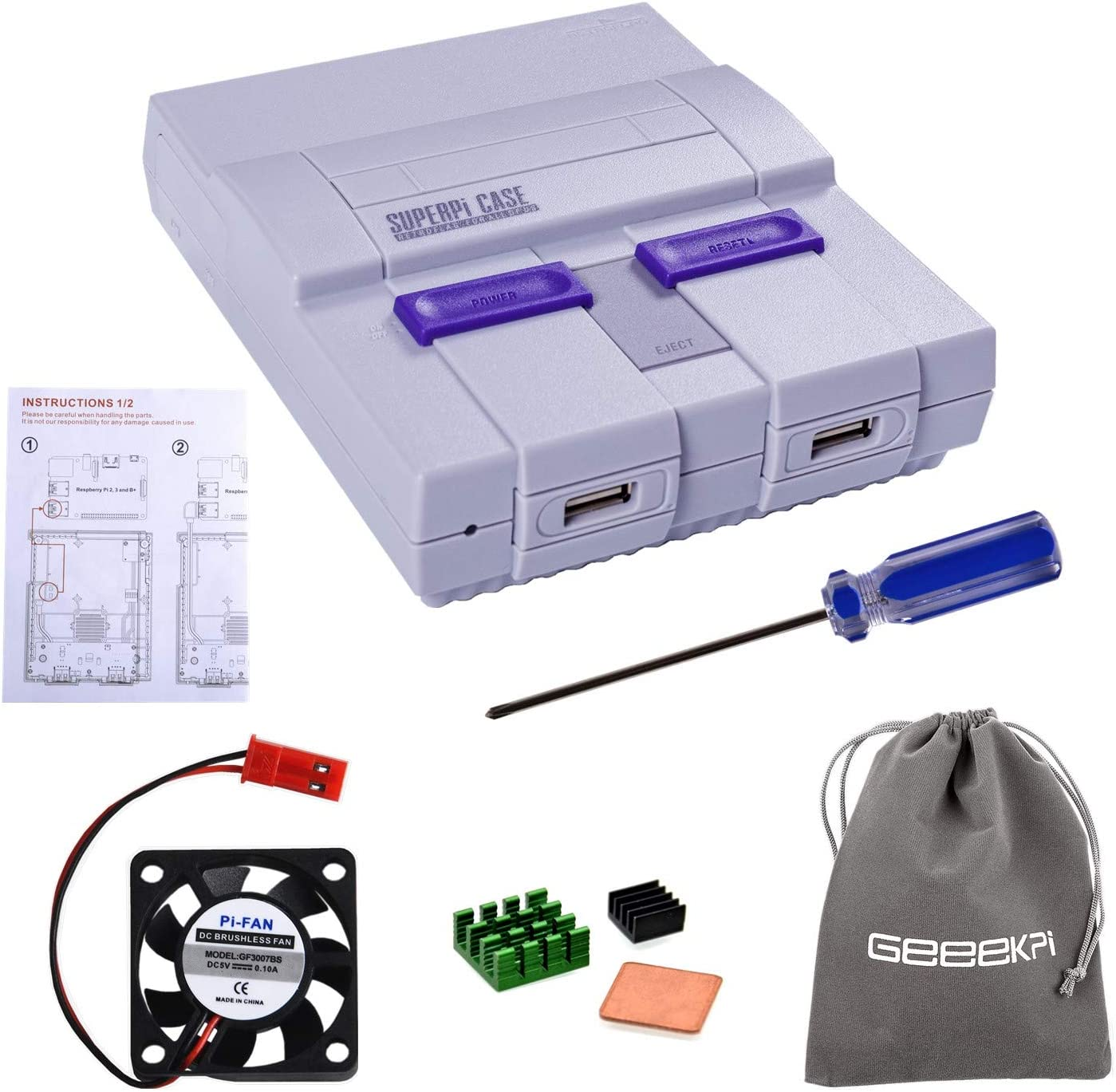 Retroflag SUPERPI CASE UCase NESPI CASE SNES Case with Functional Power Button and Reset Button, with Raspberry Pi Heatsink Fan for Raspberry Pi 3 B+ & Raspberry Pi 3/2 Model B/B+