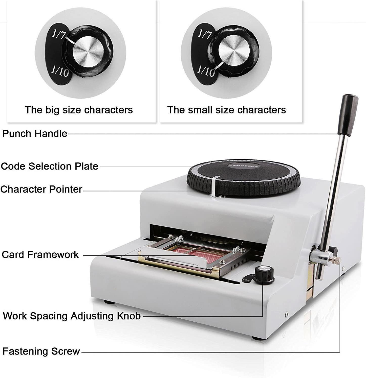 CARESHINE 72 Character Manual Embossing Machine PVC Card Embosser for VIP Card Club Card Printing Ship from Canada 2-5 Days Delivery