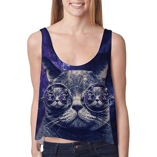 NiSeng Mujer Tank Top Galaxy Gato con los vidrios Imprimir Camisa Corta Camisetas Sin Mangas