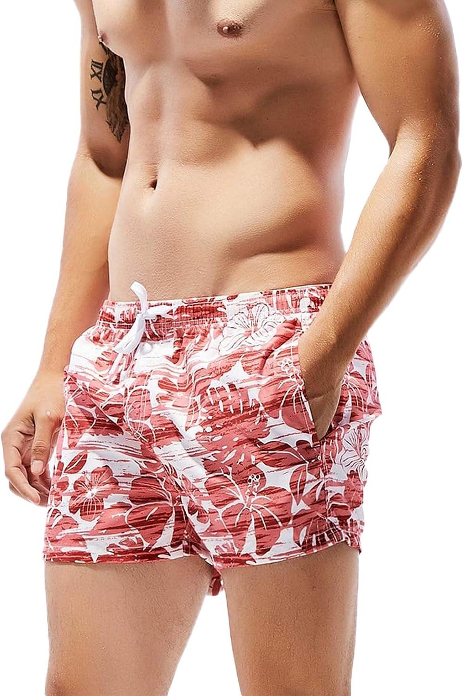 SweatyRocks Men's Summer Quick Dry Printed Beach Board Short Bathing Suits Swim Trunks
