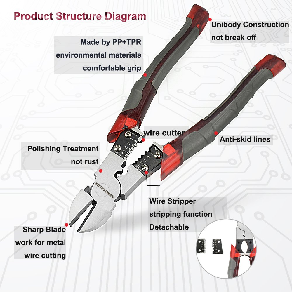 side cutting pliers with wire stripper/crimper/cutter function, big heavy  duty diagonal wire multitool cutters plier, 7 87 inch - - amazon com