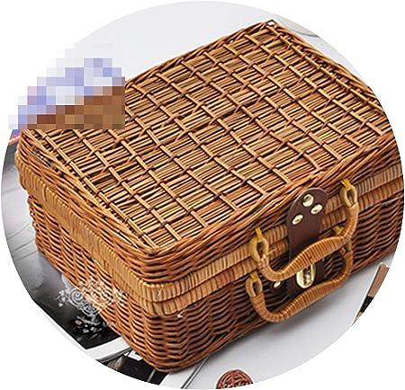 Amazon.com: Vintage PP mimbre Picnic Maleta de Alimentos ...