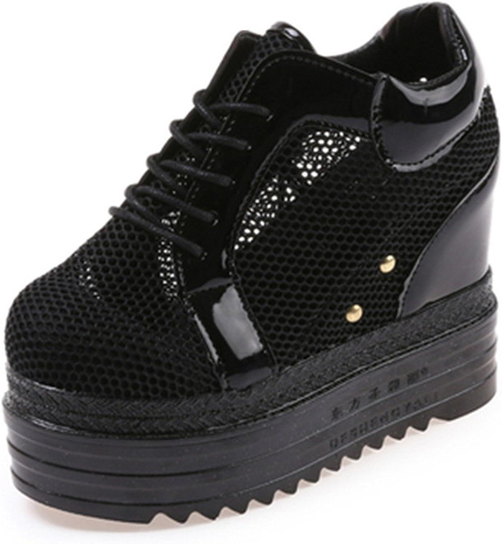 Feilongzaitianba Women's Shoes Clean Air Wedge Women Platforms Shoes Black White 12 cm