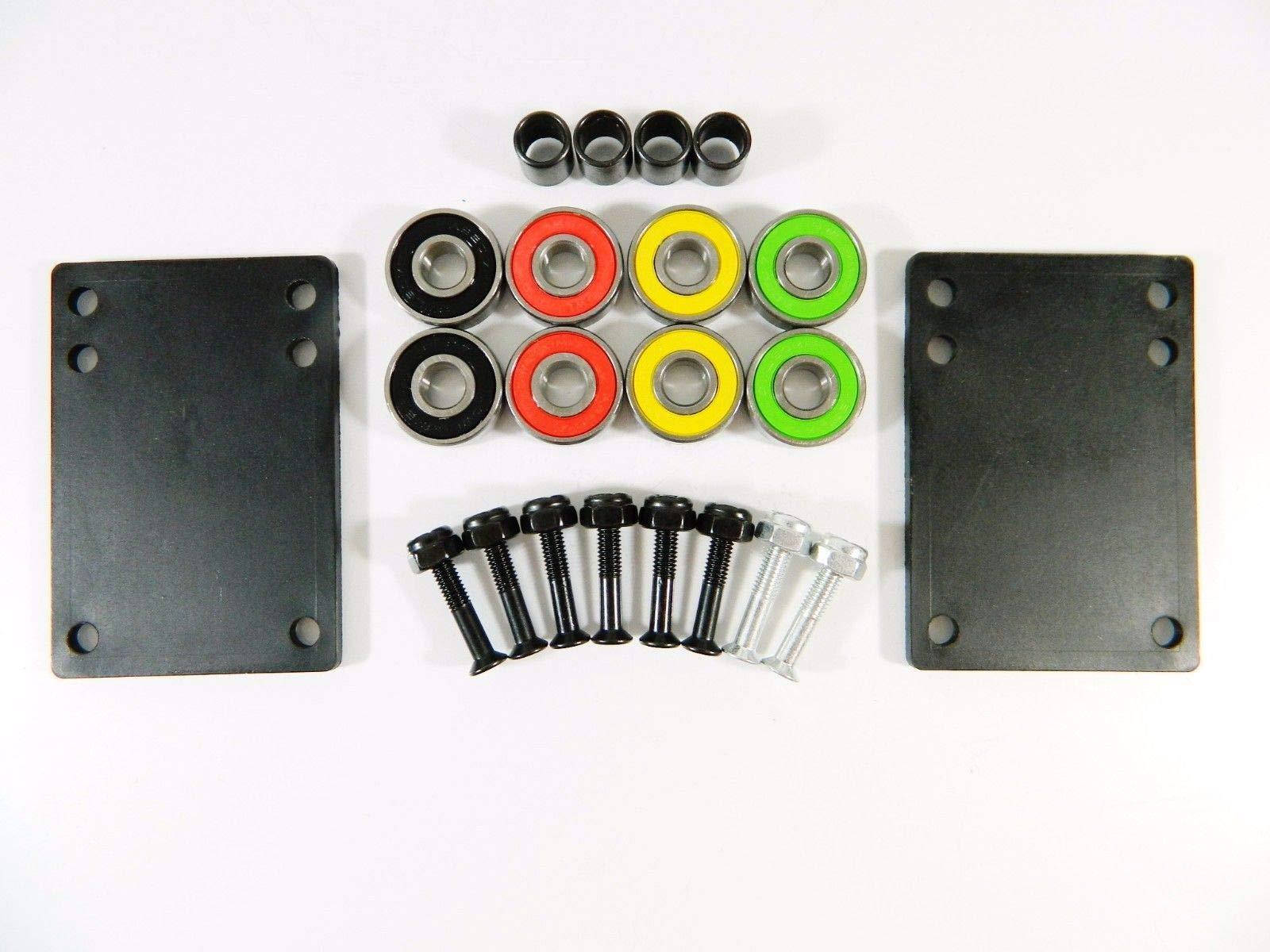 Good Skateboard Rasta ABEC 7 Precision Bearings + 1.0'' Color Hardware + 1/8'' Riser Pads