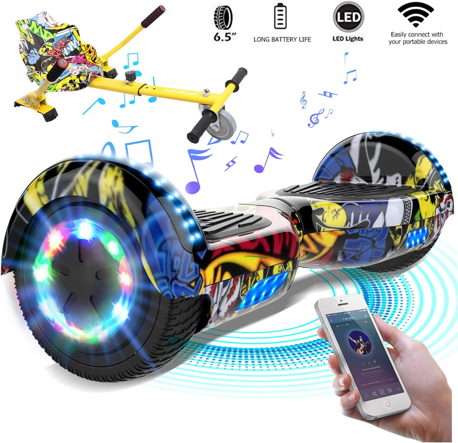 Mega Motion 6.5/'/' Bluetooth Hoverboard Self Balancing Scooter Electric Scooter