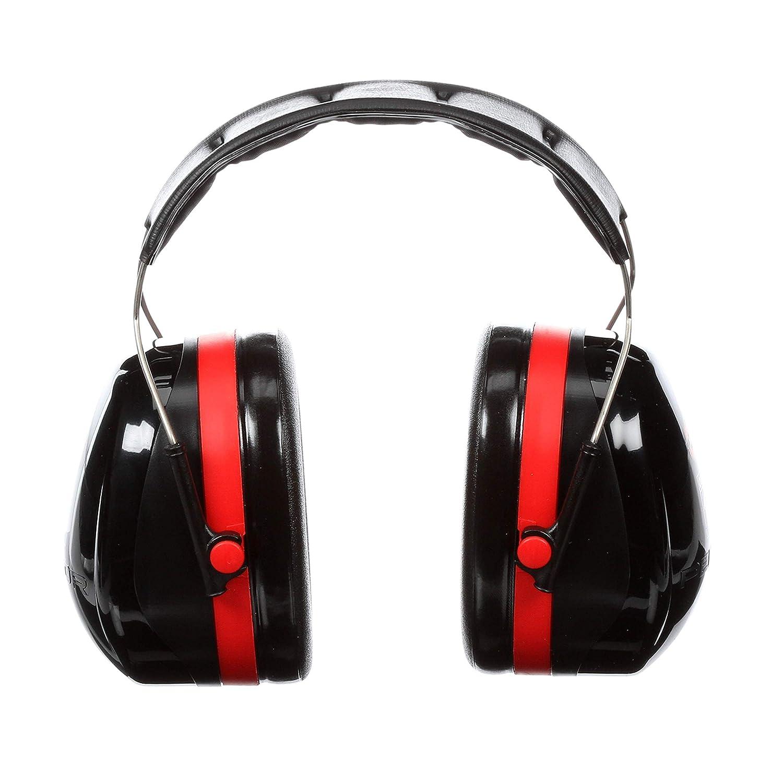 3M™ Peltor™ Optime 105 Behind-the-Head Earmuffs, H10B, black/red 3M Industrial Market Center