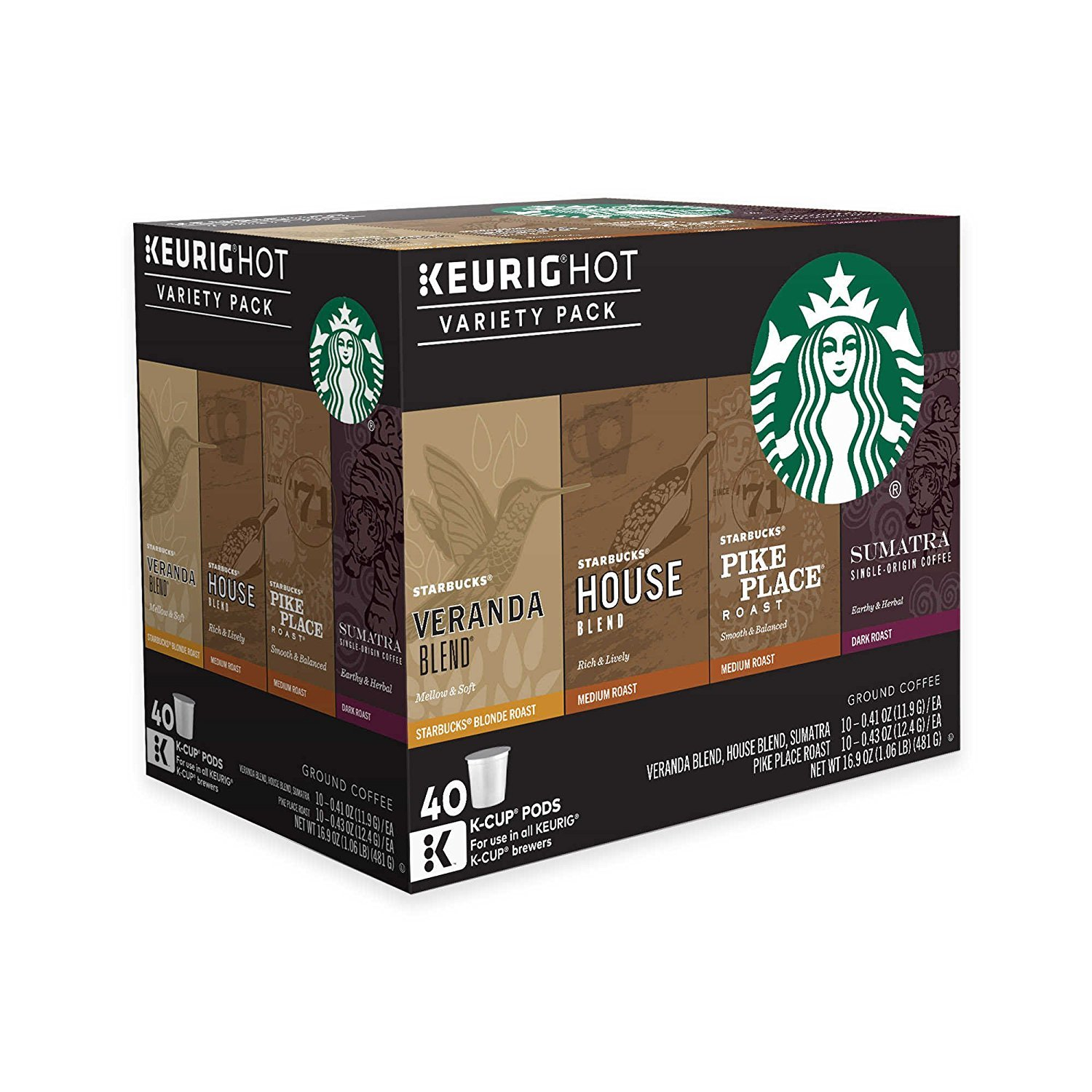 Keurig Starbucks Coffee 40-ct. K-Cup Pods Variety Pack