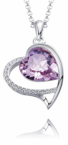 c9624eede17b0 FAPPAC Open Heart Pendant Necklace Enriched with Swarovski Crystals ...