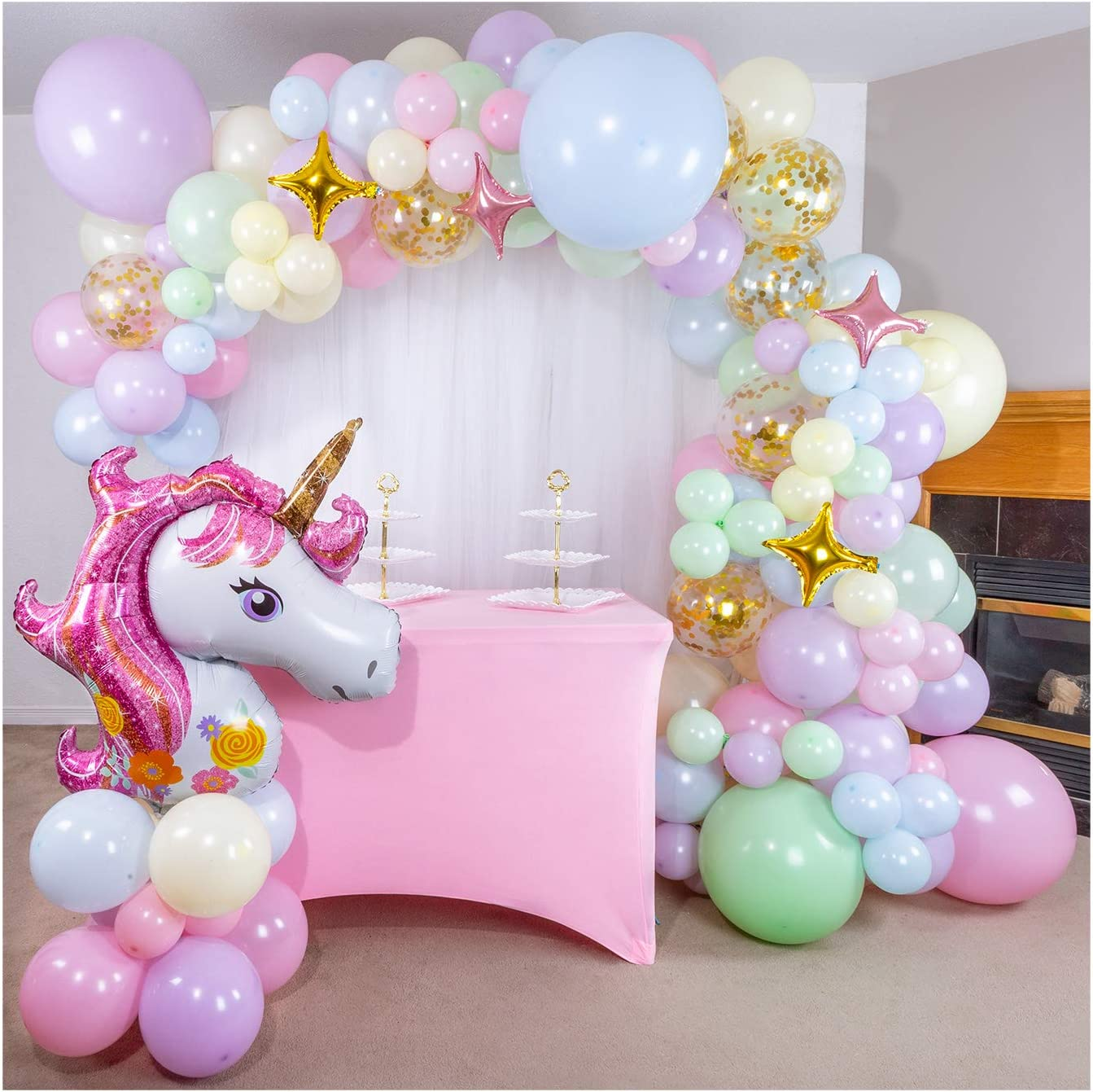 Shimmer and Confetti 16 Foot DIY Premium Pastel Rainbow Unicorn Balloon Arch and Garland Kit with Giant Unicorn Foil, Stars, 10 Confetti Balloons, Tying Tool and More. Unicorn Party Supplies and Decorations for Girls Birthdays.