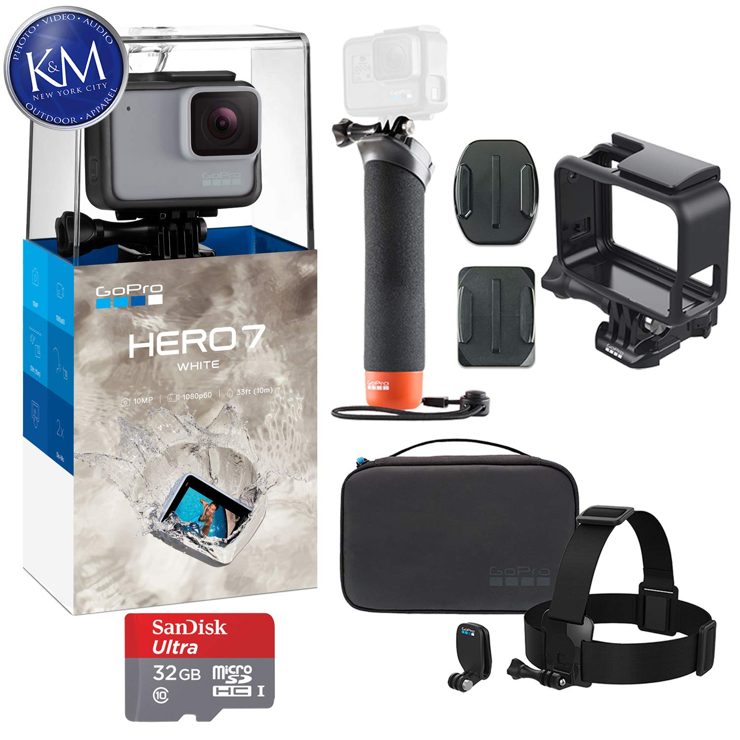 GoPro Hero 7 (White) Action Camera with GoPro Adventure Kit Essential Bundle by K&M