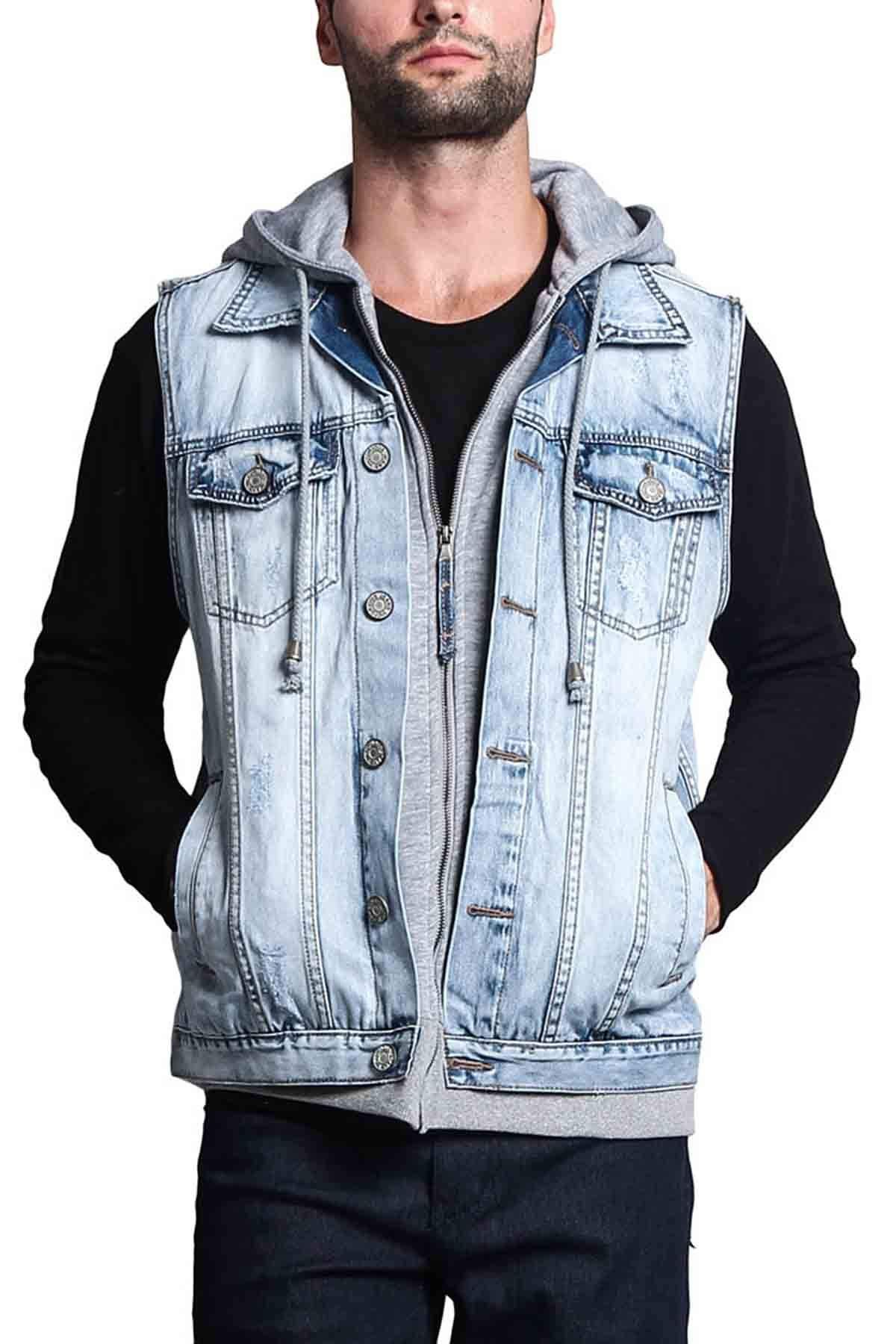 Victorious Layered Hooded Denim Jean Vest Jacket DK110 - Layered Ice - Medium - GG1G by Victorious