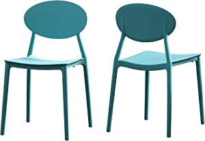 Great Deal Furniture Brynn Outdoor Plastic Chairs (Set of 2), Teal