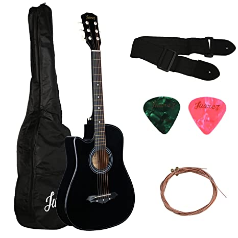 Juarez Acoustic Guitar, [LEFT HANDED] 38 Inch Cutaway, 38CL/BK with Bag, Strings, Pick and Strap, Black Acoustic Steel-String Guitars at amazon