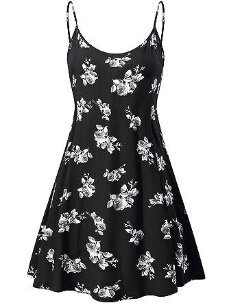 MEHOME Women`s Dress Printing Knielang Sleeveless A-Line Loose Summer Dress