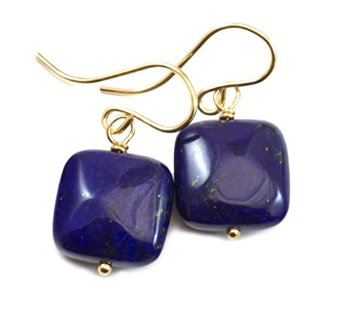 Lapis Lazuli Blue Earrings Square Cut Simple Drops Dark Blue Pyrite Flecks