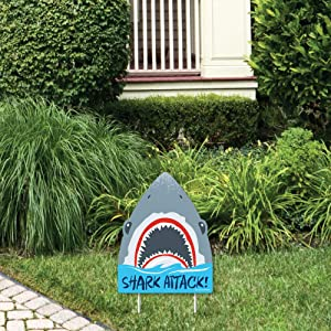 Big Dot of Happiness Shark Zone - Outdoor Lawn Sign - Jawsome Shark Party or Birthday Party Yard Sign - 1 Piece