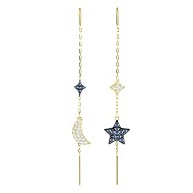512198ab75bb1 Swarovski Duo Moon Pierced Earrings, Teal, Mixed Plating: Amazon.co ...