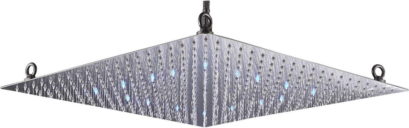 Rozin Bathroom LED Light 20-inch Rainfall Shower Head Square Overhead Sprayer Brushed Nickel