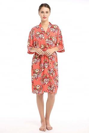 c8cd0f676cd Women s Cotton Short Floral Wedding Nightgown - Bridesmaids Dressing Robe (Small