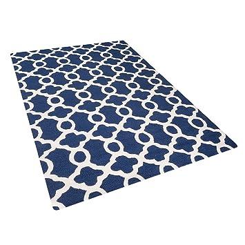 beliani tapis de salon bleu 140x200 cm tapis coton laine zile - Tapis De Salon Bleu