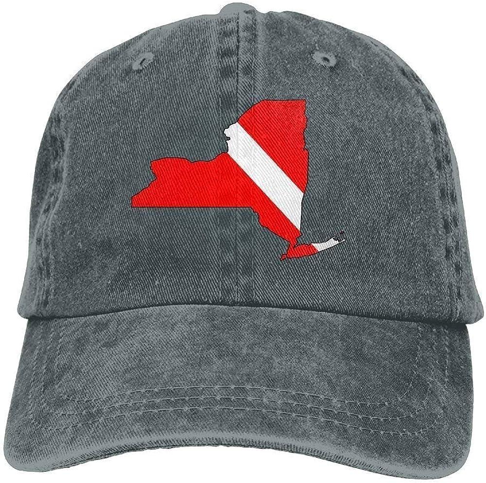 Secado Rápido Dad Hat,Cómoda Sombrero De Deporte,Transpirable Ocio Sombrero,Hombres Y Mujeres New York Scuba Dive Flag Map-1 Vintage Jeans Gorra De Béisbol