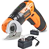 VonHaus 2 in 1 Electric Cardboard/Carpet Cutter with Screwdriver Attachment, Rechargeable Battery, LED Light with 3-Position Handle and 5 Screwdriver Bit Set