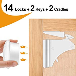 Cabinet Locks Child Safety Latches, OUSI 2020 upgraded 14+2+2 PACK Baby Proofing Cabinet Locks, Magnetic Cabinet Locks for Drawers and Cabinets - Adhesive Locks, No Tool or Drill