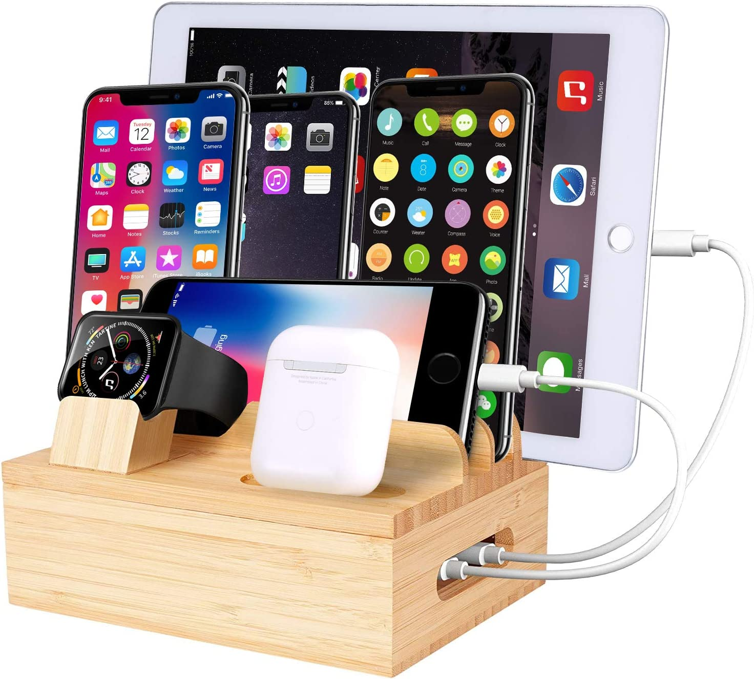 Bamboo Charger Station for Multiple Devices, Compatible with Phone Tablet Smart Watch Holder Earbuds Earphone, SNEDIY 7 in 1 Bamboo Charging Stations Charger Organizer(Without Power Supply Cables)